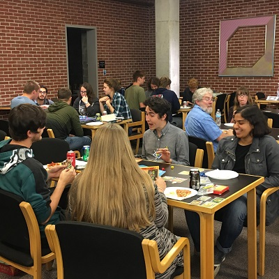 Students play board games at tables in Wertz Art & Architecture Library in Alumni Hall
