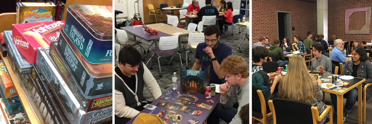 students, faculty and staff playing games on games night