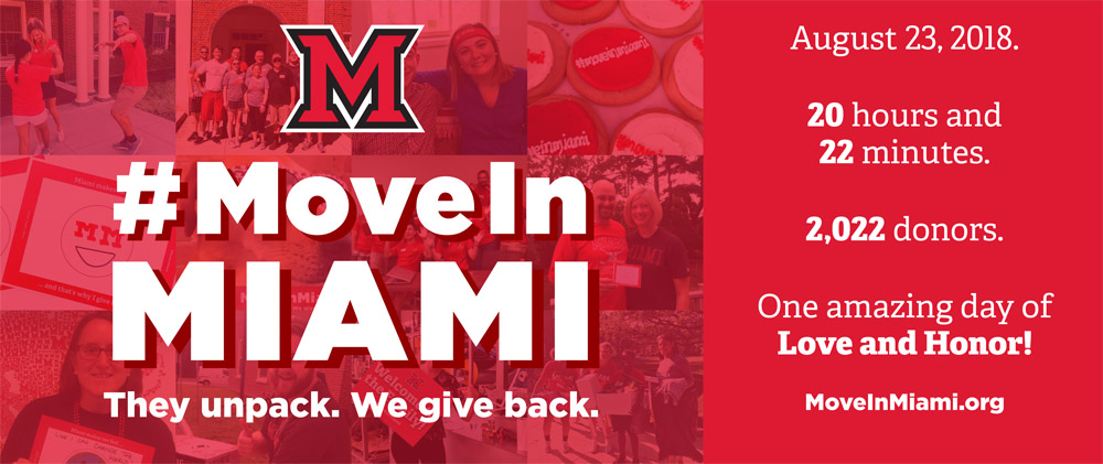 #MoveInMiami: They unpack. We give back. August 23, 2018. 20 hours and 22 minutes. 2,022 donors. One amazing day of Love and Honor! MoveInMiami.org