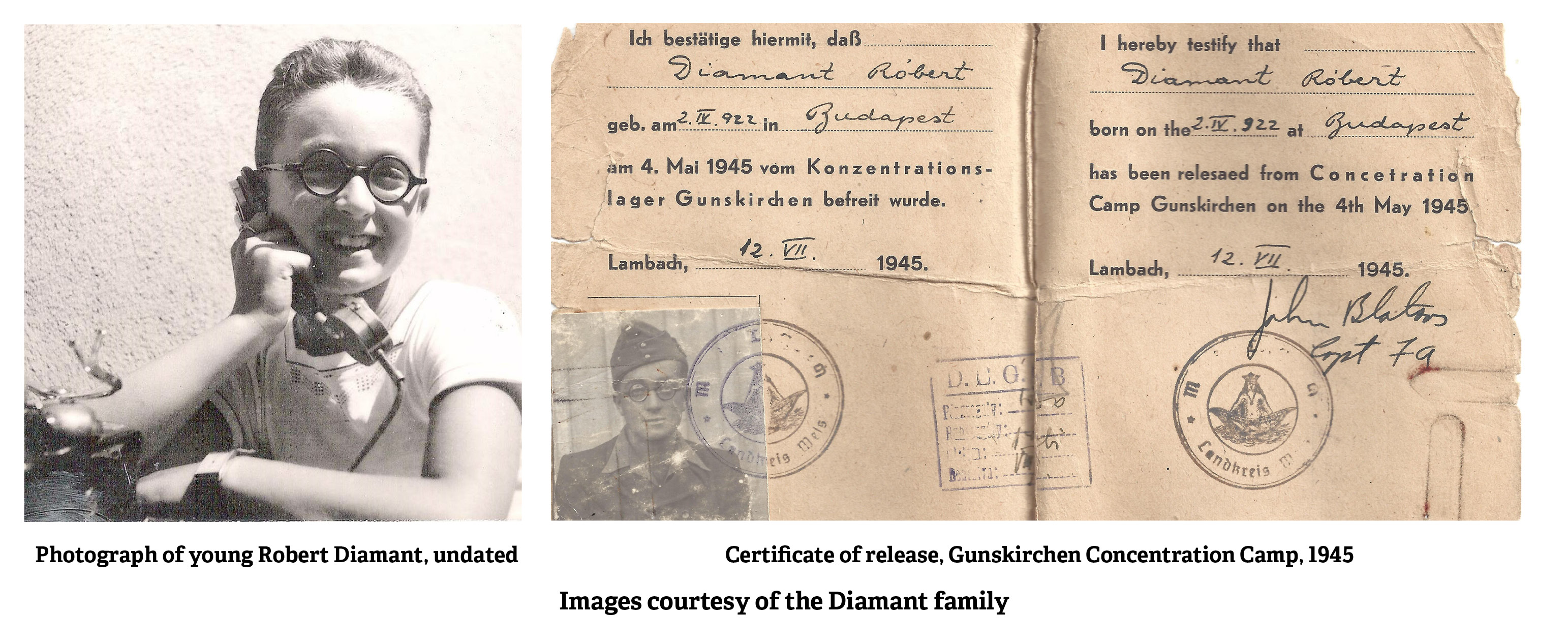 Photograph of young Robert Diamant, undated and Certificate of release, Gunskirchen Concentration Camp, 1945