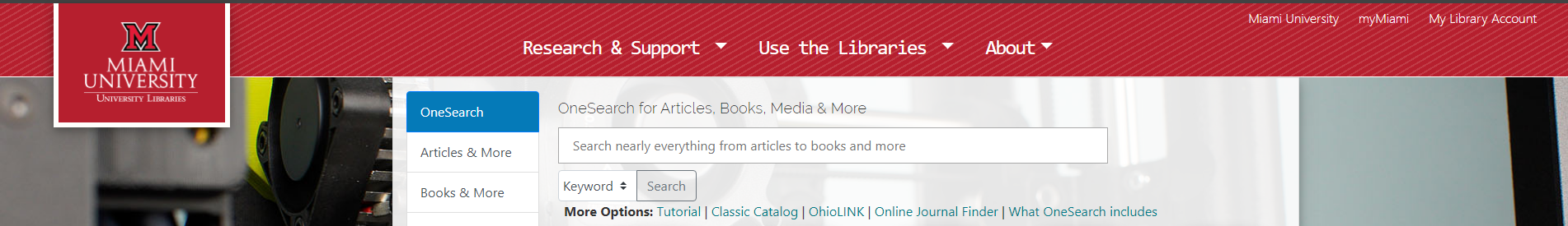 A screenshot of the upper portion of the homepage of the new University Libraries website