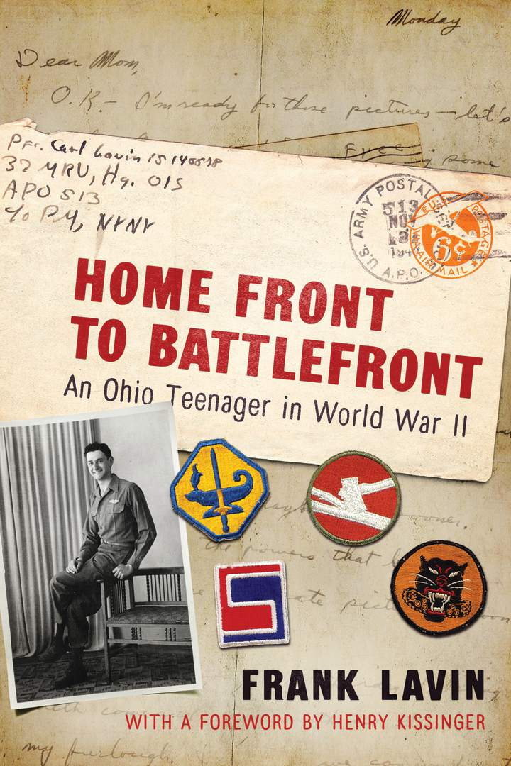 Image of a book cover with handwritten letters as a background and the title in red reading, 'Home Front to Battlefront, An Ohio Teenager in World War II'